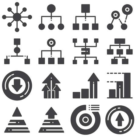 Flowchart management vector icons set, modern solid symbol collection, filled style pictogram pack. Signs,  illustration. Set includes icons as hierarchy structure, pyramid diagram, pie chart 일러스트