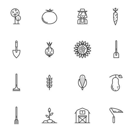 Agriculture harvest line icons set. linear style symbols collection, outline signs pack. vector graphics. Set includes icons as tree, tomato, gardener, farmer, sunflower, shovel, corn, plant, carrot Banque d'images - 131774113