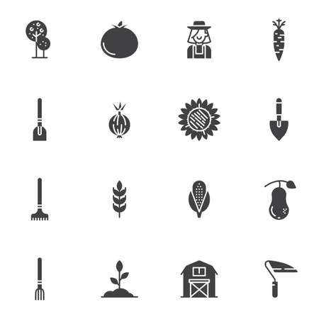 Agriculture harvest vector icons set, modern solid symbol collection, filled style pictogram pack. Signs, illustration. Set includes icons as tree, tomato, gardener, farmer, sunflower, shovel