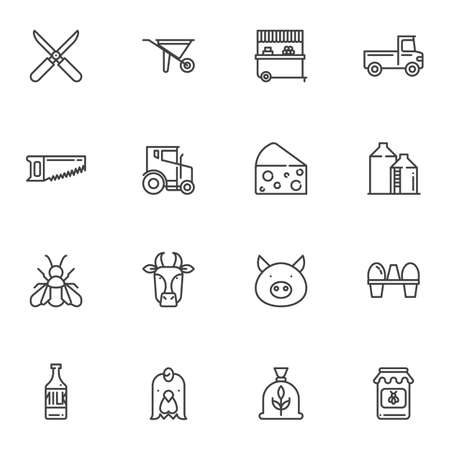 Agriculture line icons set. linear style symbols collection, outline signs pack. vector graphics. Set includes icons as wheelbarrow, tractor, truck, milk bottle, cow, pig, chicken egg, scissors, barn