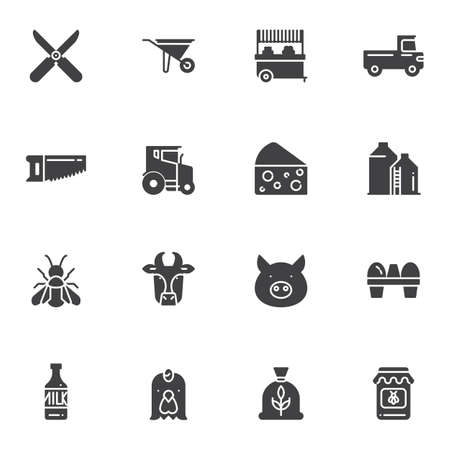 Agriculture vector icons set, modern solid symbol collection, filled style pictogram pack. Signs, illustration. Set includes icons as wheelbarrow, tractor, truck, milk bottle, cow, pig, chicken