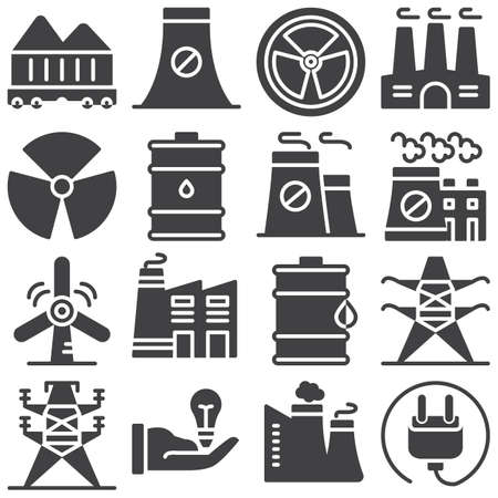 Ecology vector icons set, modern solid symbol collection, filled style pictogram pack. Signs illustration. Set includes icons as factory building smog, oil barrel, windmill, eco energy, radiation Çizim