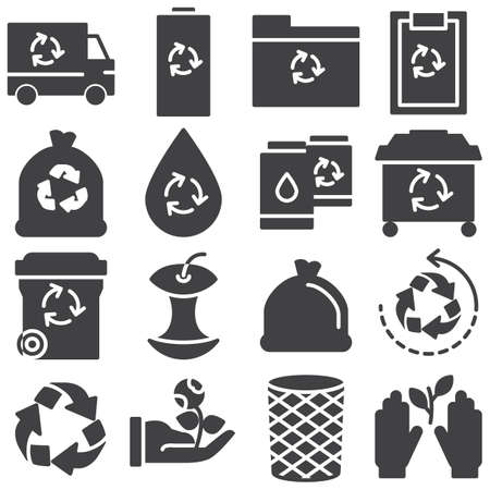 Ecology vector icons set, modern solid symbol collection filled style pictogram pack. Signs illustration. Set includes icons as trash can, recycle bin, battery, eco truck, ecology document folder Banque d'images - 131774115