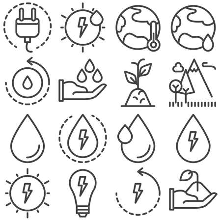 Eco energy line icons set. linear style symbols collection, outline signs pack. vector graphics. Set includes icons as solar energy, global warming, ecology, water cycle, nature landscape, plant Banco de Imagens - 131774114
