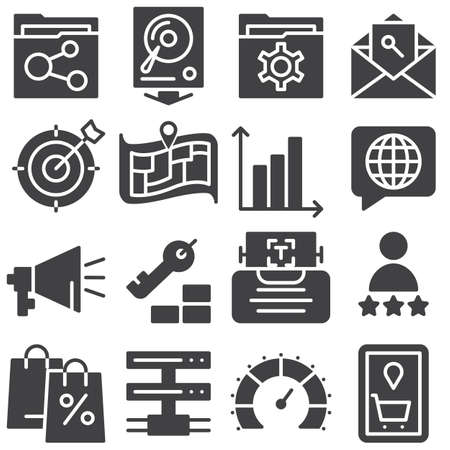 SEO vector icons set, modern solid symbol collection, filled style pictogram pack. Signs, illustration. Set includes icons as profile settings, map marker, folder share, network server connection 向量圖像