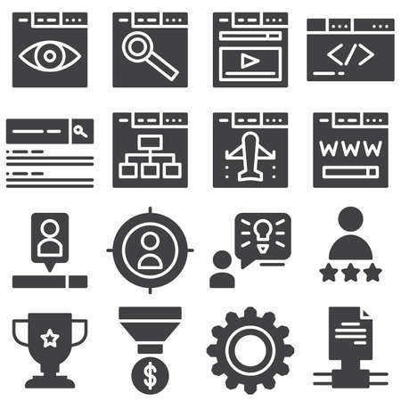 SEO vector icons set, modern solid symbol collection filled style pictogram pack. Signs illustration. Set includes icons as web search, monitoring, developing, browser, webpage, website flowchart Banque d'images - 131774118