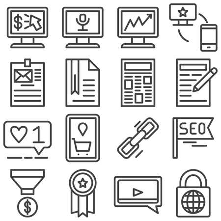 SEO line icons set. linear style symbols collection, outline signs pack. vector graphics. Set includes icons as link share, like feedback, quality certificate, video chat, business graph, money funnel Banque d'images - 131774122