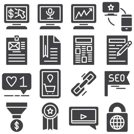 SEO vector icons set, modern solid symbol collection, filled style pictogram pack. Signs, illustration. Set includes icons as link share, like feedback, quality certificate, chat, money funnel Banque d'images - 131774120