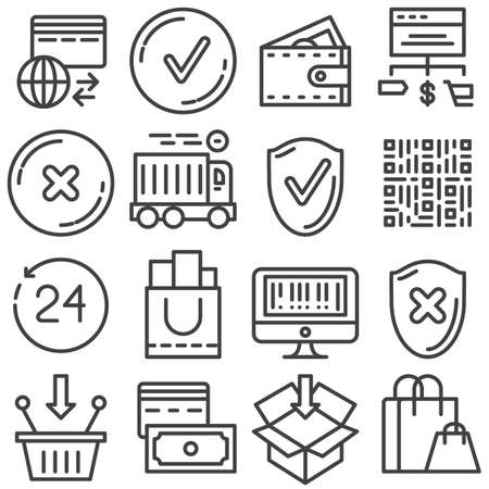 Online shopping line icons set. linear style symbols collection, outline signs pack. vector graphics. Set includes icons as fast delivery, add to basket, international payment system, shopping cart
