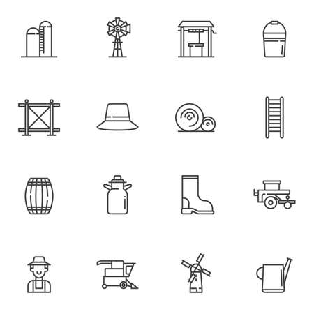 Agriculture line icons set. linear style symbols collection, outline signs pack. vector graphics. Set includes icons as barn storage, farmer, watering can, lawn mower, gardener, windmill, water well