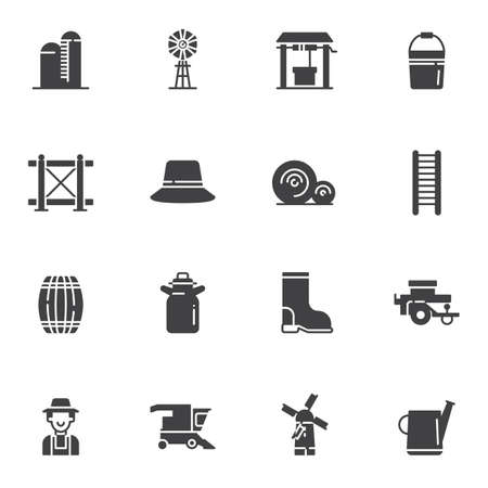Agriculture vector icons set, modern solid symbol collection, filled style pictogram pack. Signs, illustration. Set includes icons as barn storage, farmer, watering can, lawn mower, gardener Ilustração