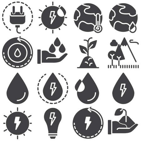 Eco energy vector icons set, modern solid symbol collection, filled style pictogram pack. Signs, illustration. Set includes icons as solar energy, global warming, ecology, water cycle, plant Banco de Imagens - 131774125