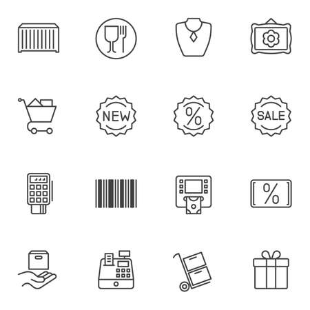 E-commerce line icons set. linear style symbols collection, outline signs pack. vector graphics. Set includes icons as new sale, discount sticker, shopping basket, parcel delivery, gift box, barcode