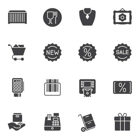 E-commerce vector icons set, modern solid symbol collection, filled style pictogram pack. Signs, illustration. Set includes icons as new sale, discount sticker, shopping basket, parcel delivery Banque d'images - 131774127
