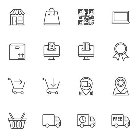 Ecommerce line icons set. linear style symbols collection, outline signs pack. vector graphics. Set includes icons as online shopping, free delivery, package tracking, add to basket, purchase, barcode
