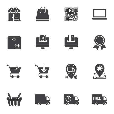 Ecommerce vector icons set, modern solid symbol collection, filled style pictogram pack. Signs, illustration. Set includes icons as online shopping, free delivery, package tracking, add to basket Stock Illustratie