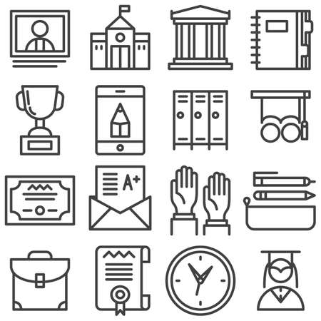 Education line icons set. linear style symbols collection, outline signs pack. vector graphics. Set includes icons as school building, library, notebook, school bag, graduate student, elearning, clock Banque d'images - 131774181