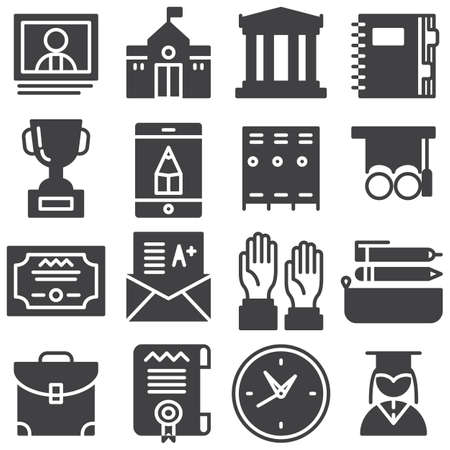 Education vector icons set, modern solid symbol collection filled style pictogram pack. Signs, logo illustration. Set includes icons as school building, library, notebook, school bag, graduate student Banque d'images - 131774183