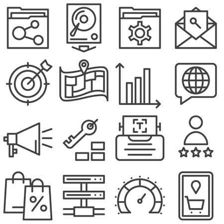 SEO line icons set. linear style symbols collection, outline signs pack. vector graphics. Set includes icons as profile settings, map marker, document folder share, network server connection, feedback 向量圖像