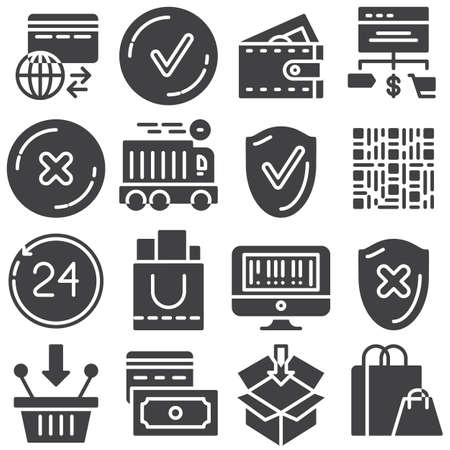 Online shopping vector icons set, modern solid symbol collection filled style pictogram pack. Signs illustration. Set includes icons as fast delivery, add to basket, payment system, shopping cart