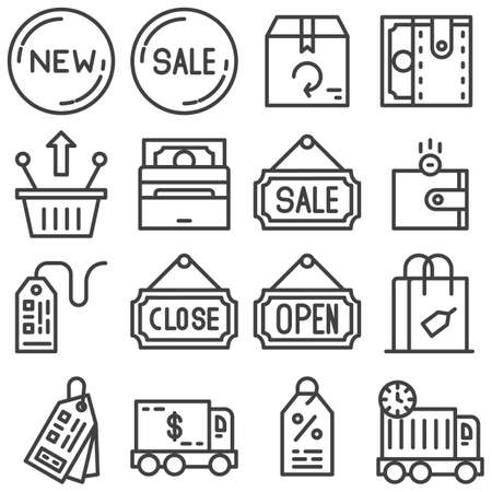 Shopping line icons set. linear style symbols collection, outline signs pack. vector graphics. Set includes icons as close, open, sale, new, discount, money, wallet, shopping basket, price tag, paying Banque d'images - 131774192