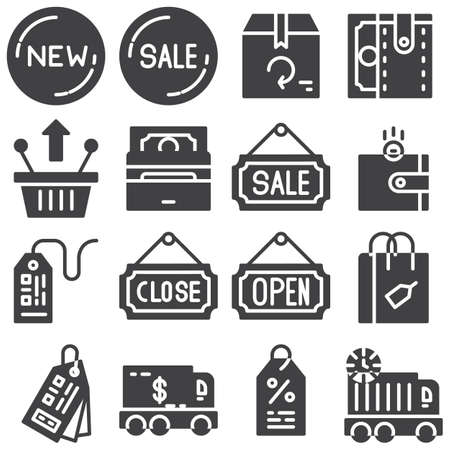 Shopping vector icons set, modern solid symbol collection, filled style pictogram pack. Signs, illustration. Set includes icons as close, open, sale, discount, money, shopping basket, price tag Illusztráció