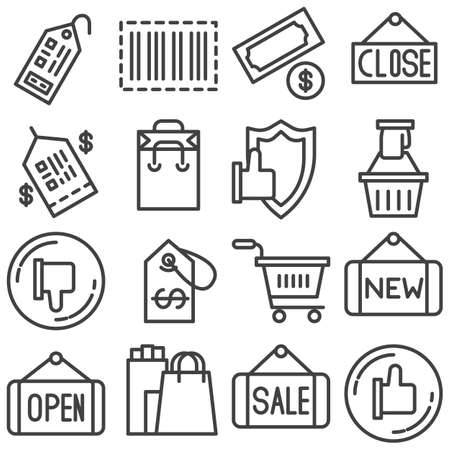Shopping line icons set. linear style symbols collection, outline signs pack. vector graphics. Set includes icons as like feedback, price tag, shopping cart, ecommerce, security protection, barcode Stock Illustratie