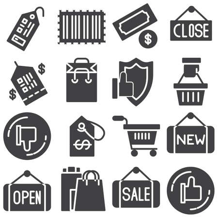 Shopping vector icons set, modern solid symbol collection, filled style pictogram pack. Signs, illustration. Set includes icons as like feedback, price tag, ecommerce, security protection, sale
