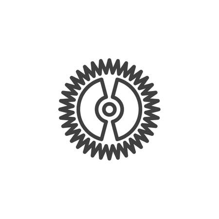 Cog gear line icon. Cogwheel linear style sign for mobile concept and web design. Gear wheel outline vector icon. Symbol,   illustration. Vector graphics 스톡 콘텐츠 - 131957439
