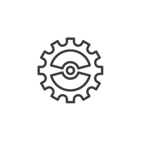Cog gear line icon. Cogwheel linear style sign for mobile concept and web design. Gear wheel outline vector icon. Symbol,   illustration. Vector graphics