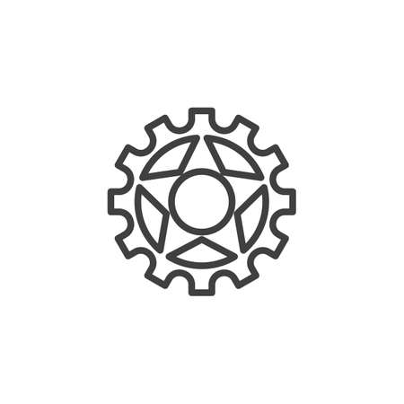 Cog gear line icon. Cogwheel linear style sign for mobile concept and web design. Gear wheel outline vector icon. Symbol,   illustration. Vector graphics 스톡 콘텐츠 - 131957670