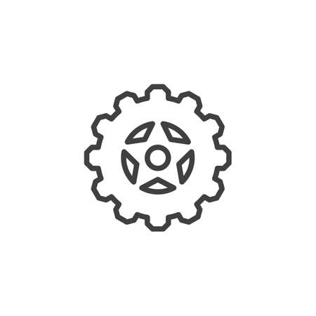 Cog gear line icon. Cogwheel linear style sign for mobile concept and web design. Gear wheel outline vector icon. Symbol,   illustration. Vector graphics 스톡 콘텐츠 - 131957694