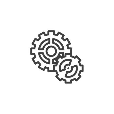 Cog gear line icon. Cogwheel linear style sign for mobile concept and web design. Gear wheel outline vector icon. Symbol,   illustration. Vector graphics 스톡 콘텐츠 - 131957795