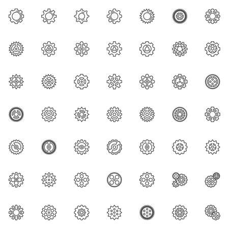 Gear line icons set. linear style symbols collection, outline signs pack. vector graphics. Set includes icons as cogwheel, cog mechanism, setting gear, wheel, configuration
