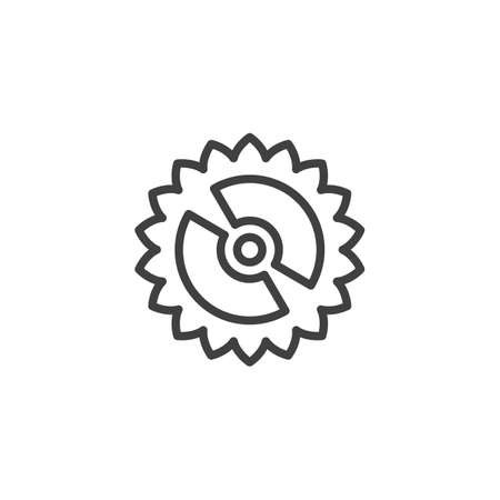 Cog gear line icon. Cogwheel linear style sign for mobile concept and web design. Gear wheel outline vector icon. Symbol,   illustration. Vector graphics 스톡 콘텐츠 - 131958302
