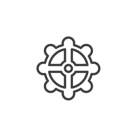 Cog gear line icon. Cogwheel linear style sign for mobile concept and web design. Gear wheel outline vector icon. Symbol,   illustration. Vector graphics 스톡 콘텐츠 - 131958297