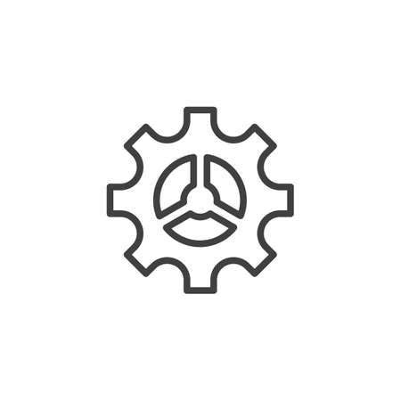 Cog gear line icon. Cogwheel linear style sign for mobile concept and web design. Gear wheel outline vector icon. Symbol 일러스트
