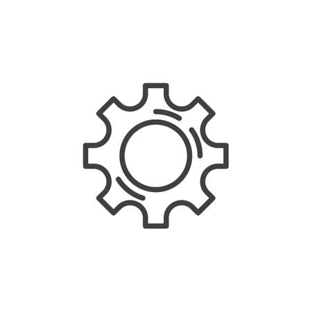 Cog gear line icon. Cogwheel linear style sign for mobile concept and web design. Gear wheel outline vector icon. Symbol,   illustration. Vector graphics 스톡 콘텐츠 - 131958306