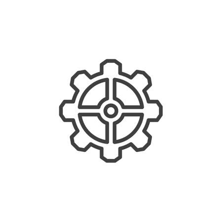 Cog gear line icon. Cogwheel linear style sign for mobile concept and web design. Gear wheel outline vector icon. Symbol,   illustration. Vector graphics 스톡 콘텐츠 - 131958311