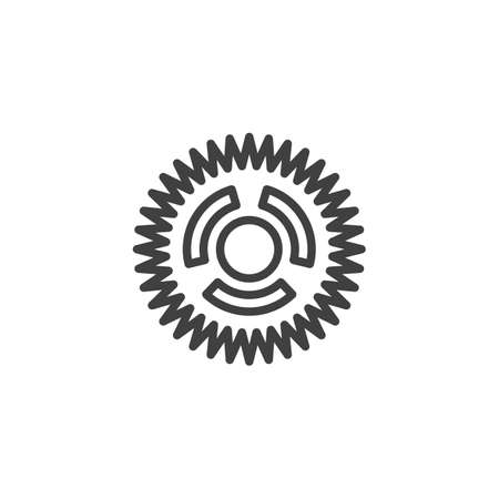 Cog gear line icon. Cogwheel linear style sign for mobile concept and web design. Gear wheel outline vector icon. Symbol,   illustration. Vector graphics 스톡 콘텐츠 - 131958308