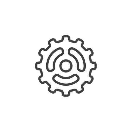 Cog gear line icon. Cogwheel linear style sign for mobile concept and web design. Gear wheel outline vector icon. Symbol,   illustration. Vector graphics 스톡 콘텐츠 - 131958313