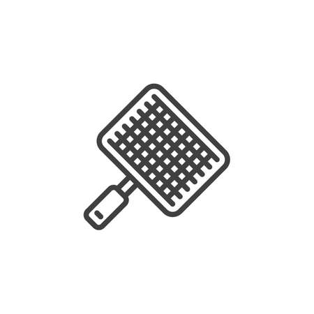 Barbecue, grill steel grid line icon. linear style sign for mobile concept and web design. BBQ Wire rack outline vector icon. Symbol,   illustration. Vector graphics