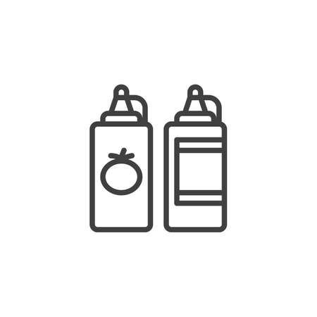 Ketchup and mustard bottle line icon. linear style sign for mobile concept and web design. Tomato sauce and mayonnaise outline vector icon. Symbol,   illustration. Vector graphics 版權商用圖片 - 131960953