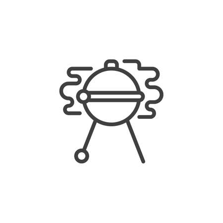 Barbecue grill line icon. linear style sign for mobile concept and web design. Cooking grill bbq outline vector icon. Symbol,   illustration. Vector graphics