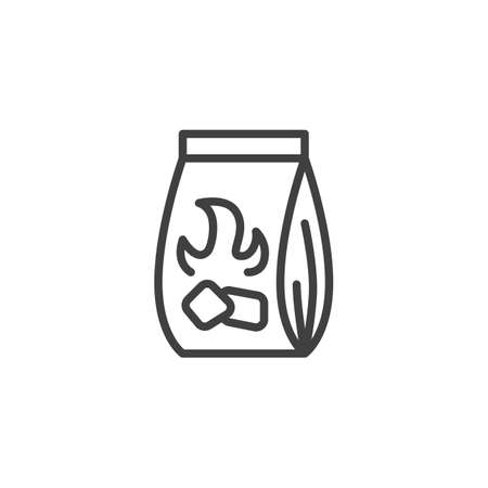Charcoal bag for barbecue grill line icon. linear style sign for mobile concept and web design. Bag of charcoal outline vector icon. Symbol,   illustration. Vector graphics  イラスト・ベクター素材