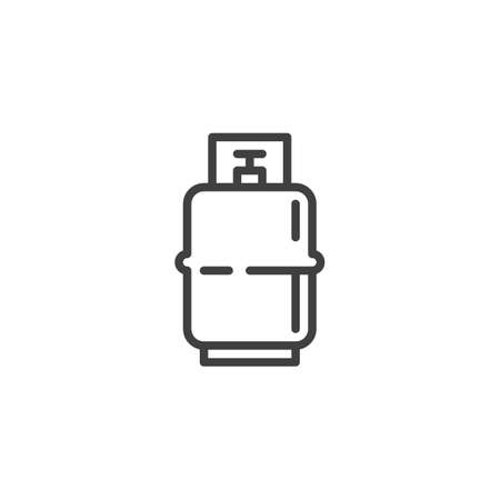 BBQ Gas Cylinder line icon. linear style sign for mobile concept and web design. Propane Gas tank outline vector icon. Symbol,   illustration. Vector graphics