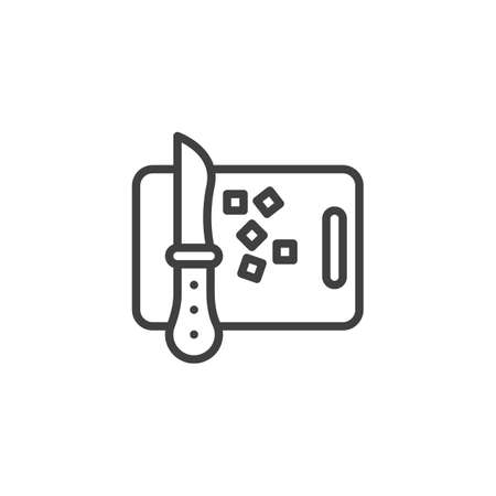 Chopping board line icon. linear style sign for mobile concept and web design. Cutting board with knife and vegetable outline vector icon. Symbol,   illustration. Vector graphics  イラスト・ベクター素材
