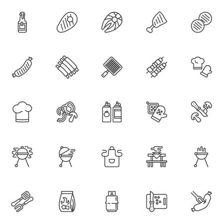 Barbeque grill line icons set. linear style symbols collection outline signs pack. vector graphics. Set includes icons as BBQ beef steak, roasted sausage, smoked ribs, grilled fish, shish kebab skewer