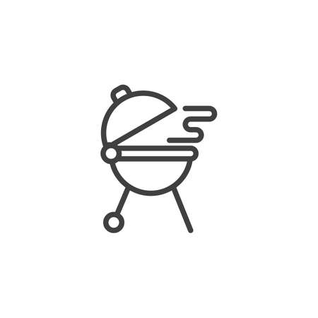 Cooking grill bbq line icon. linear style sign for mobile concept and web design. Barbecue grill outline vector icon. Symbol,   illustration. Vector graphics