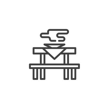 Dining table line icon. linear style sign for mobile concept and web design. Table with hot food plate outline vector icon. Symbol,   illustration. Vector graphics